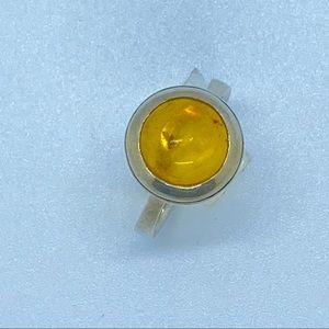Antique Amber silver ring from the Baltics sz 6.75